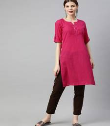 Women Pink Solid Straight Cotton Slub Kurta