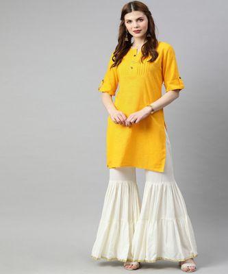 Women Yellow Solid Straight Cotton Slub Kurta