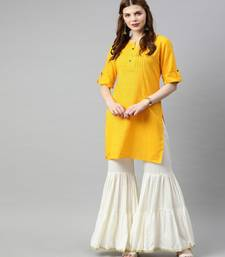 Women Yellow Solid Straight Cotton Slub Kurta
