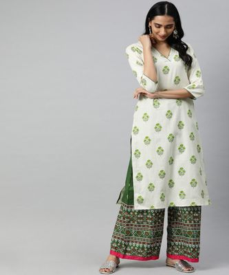 Women Off White Ethnic Motifs Straight Cotton Flex Kurta