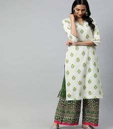 Women Off White Ethnic Motifs Straight Cotton Flex Kurta