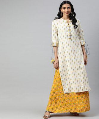 Women Off White Ikat Straight Cotton Flex Kurta