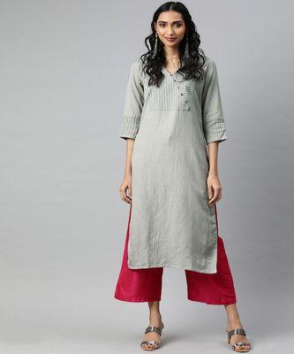 Women Grey Solid Straight Rayon Slub Kurta