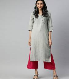 Women Grey Solid Straight Rayon Slub Kurta