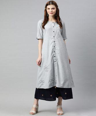 Women Grey Self Design A-Line Handloom Kurta
