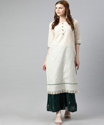 Women Off White Self Design Straight Chanderi Kurta
