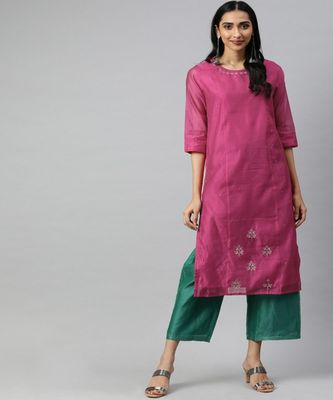 Women Pink Solid Straight Chanderi Kurta