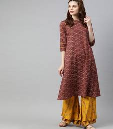 Women Rust Geometric A-Line Cotton Kurta