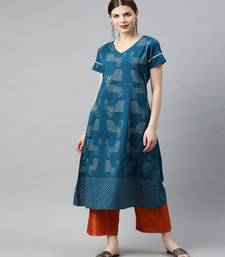 Women Teal Quirky A-Line Cotton Kurta
