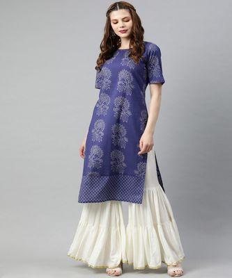 Women Blue Quirky Straight Cotton Kurta