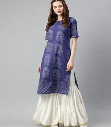 Women Blue Quirky Straight Cotton Kurta