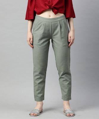 Grey Solid Cotton Slub Pant