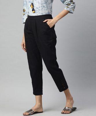 Black Solid Cotton Slub Pant