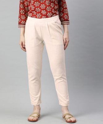 Off White Solid Cotton Slub Pant