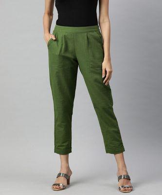 Olive Solid Cotton Slub Pant