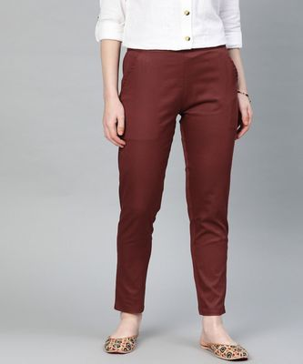 Maroon Solid Cotton Lycra Pant