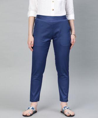 Persian Blue Solid Cotton Lycra Pant