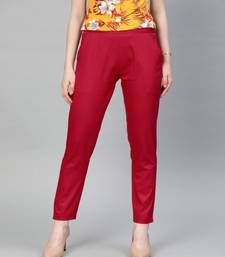 Red Solid Cotton Lycra Pant