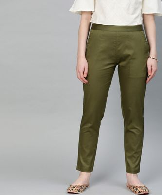 Olive Green Solid Cotton Lycra Pant