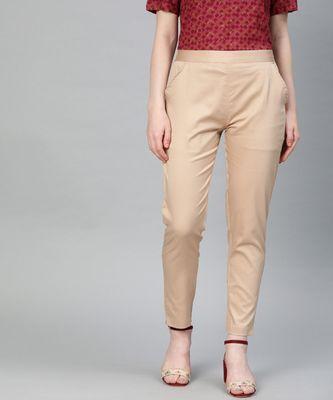 Beige Solid Cotton Lycra Pant