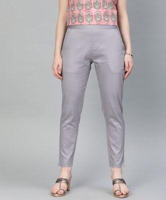 Grey Solid Cotton Lycra Pant