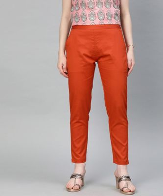 Rust Orange Solid Cotton Lycra Pant