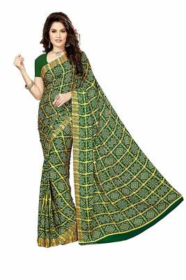 green printed crepe saree with blouse