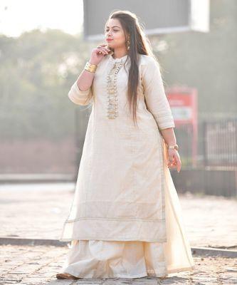 Calming cream silk kurta with skirt