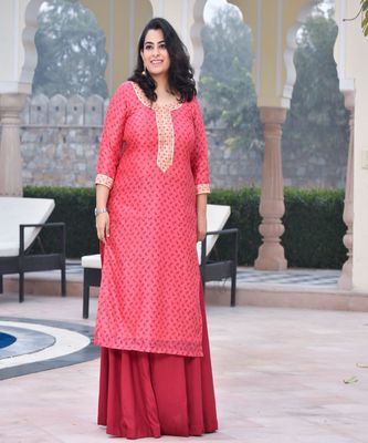 Peach handblock chanderi kurta with skirt