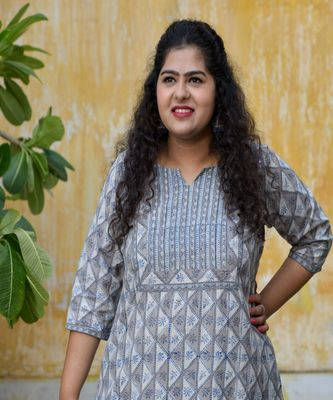 Grey blue dabu handblock printed  kurta With pant