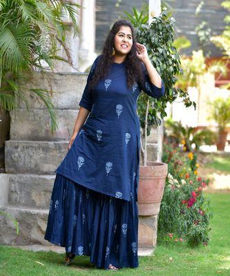 Indigo khadi print sharara set