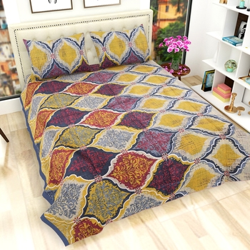 Cotton Printed Rajasthani Bedsheet with Pillow Covers