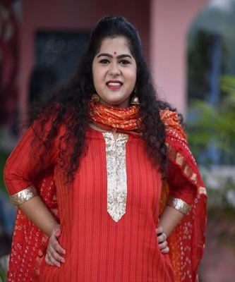 Mustard weave Kurta with Bandhani Hand dyed Dupatta & Red Rayon Skirt