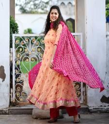 Peach Bandhani Gharchola Anarkali with Rani Bandhani Gharchola Duppata & Rani Pink Rayon Pants