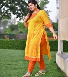 Mango bandhani Gota kurta with Orange Rayon pant