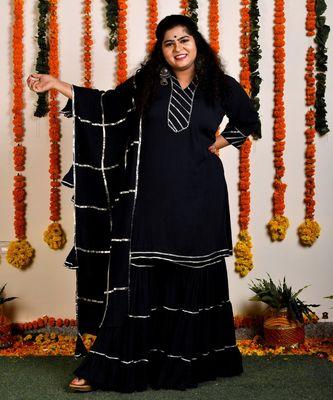 Black Gota Sharara set