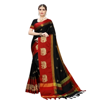 Black embroidered cotton silk saree with blouse