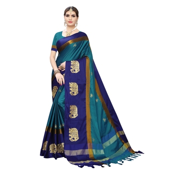 Light blue embroidered cotton silk saree with blouse
