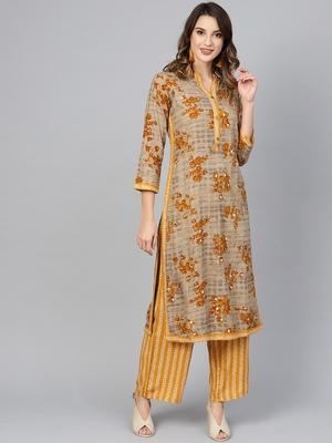 Mustard woven rayon kurta-sets