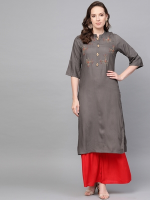 Grey woven rayon kurta-sets