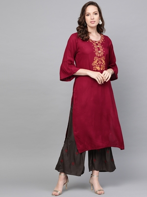 red woven rayon kurta-sets