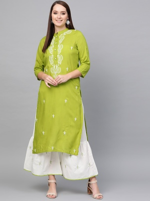 Yellow woven rayon kurta-sets