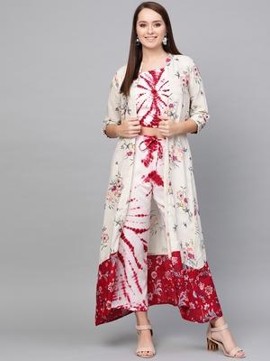 White woven rayon kurta-sets