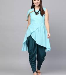 Turquoise woven rayon kurta-sets