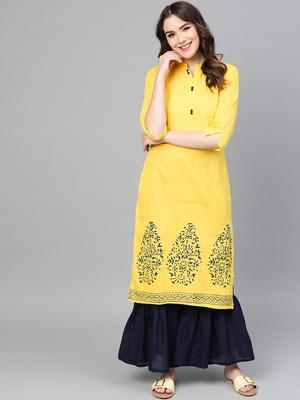 Yellow woven cotton kurta-sets