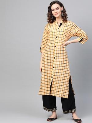 Yellow woven rayon kurta-sets