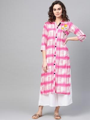 Pink woven rayon kurta-sets