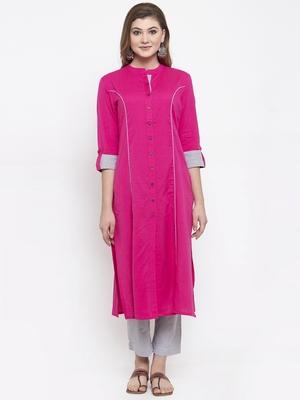 Pink woven cotton kurta-sets