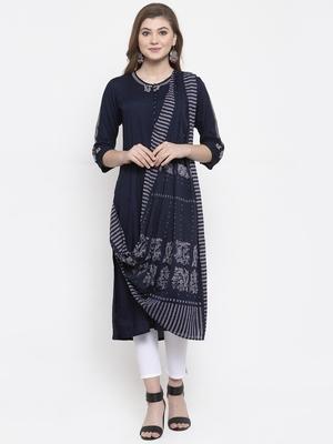 Blue woven rayon kurta-sets