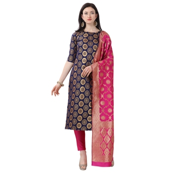 Elora Cotton Jacquard Unstitched Woven Salwar Suit Dress Material for Women